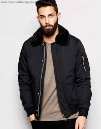 schott mens black pvyh968bdgr er jacket with faux fur collar