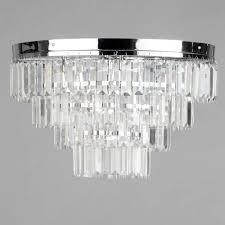 4 tier 5 light prism flush ceiling crystal effect decorative light litecraft