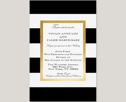Black And White Invitation Paper The Vivian Black And White Stripes W Gold Frame Wedding Invitations
