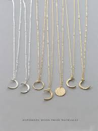 Dainty <b>Moon</b> Phase <b>Necklaces</b> - Simple <b>Crescent</b> - Waxing or ...