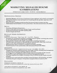 Marketing Manager Combination Resume Sample Website Photo Gallery