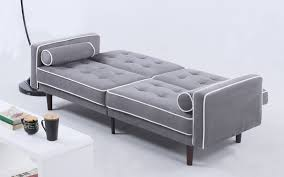 ludwig mid century modern velvet futon in light grey mid century modern futon46