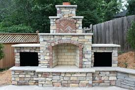 brick fireplace plans exterior unfinished outdoor fireplace plans used brick wall fireplace front some big trees
