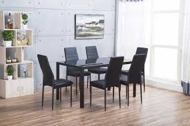 designer rectangle black glass dining table chairs set furniturebox modern metal and six faux leather with more views roma montero sofa ikea light blue