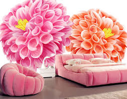 Pink Flower Wallpaper For Bedrooms Flower Wallpaper Rendering With Pink Bed Download 3d House