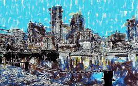 boston painting boston skyline by dean wittle