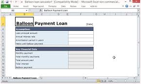Balloon Payment Loan Free Balloon Payment Excel Template