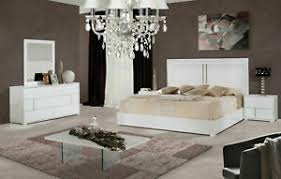 Details about Contemporary White Lacquer Bedroom Furniture - 5pcs King Platform Bed Set IVAQ