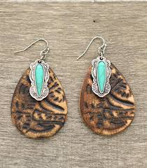 whole handbag fashion jewelry whats new er3217bn turquoise accent tooled leather earrings at yktrading com