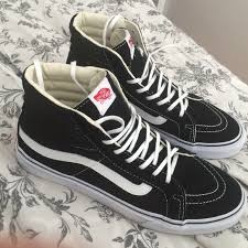 black and white vans shoes high top. vans shoes - high top black and white t