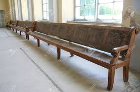 Long Antique Wooden Bench In A Church Stock Photo  87759838 D83