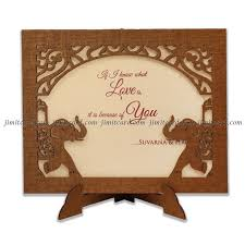 Weding Card Designs Elephant Design Laser Cut Wedding Invitation Card In Wood Frame