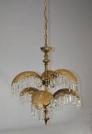 hollywood regency mid century italian six arm brass palm leaf crystal chandelier for