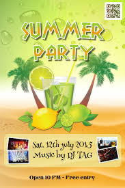 Flyers Theme Party And Cocktail Flyers Template Theme Summer Drinks