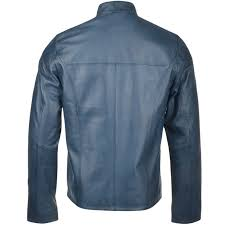 leather biker jacket blue vitteli