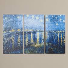 starry night over the rhone by vincent van gogh 3 piece painting print on
