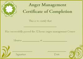 free certificate of completion template anger management certificate of completion template certificate of