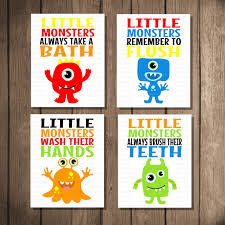 popular items for monster bathroom on instant printable art set room decor babychildren wall