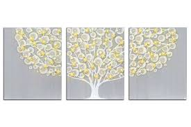 gray canvas wall art best of gray and yellow wall art tree on canvas triptych