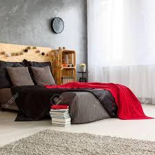 Modernes Schwarz Rot Weiß Schlafzimmer Design Lizenzfreie Fotos