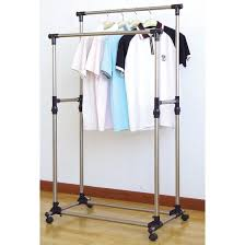 Heavy Duty Coat Rack With Shelf ProSource Premium Heavy Duty Double Rail Adjustable Telescopic 46
