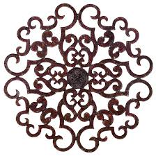 38 large brown scroll wall medallion round art metal iron swirl