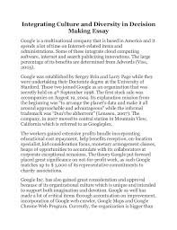 integrating culture and diversity in decision making essay integrating culture and diversity in decision making essay google is a multinational company that is based