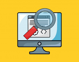seo design with computer and magnifying glass premium vector