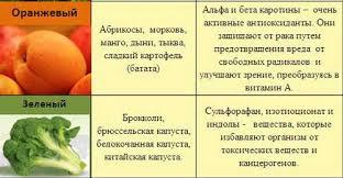 Польза овощей и фруктов цветовых групп  овощи 7 цветовых групп