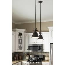 mini pendant lighting for kitchen. shop allen roth 8in w bronze mini pendant light with metal shade at lighting for kitchen