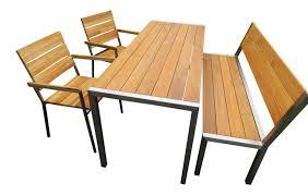 Design Edelstahl Gartenmöbel Teak Tisch 2 Stühle Und Bank