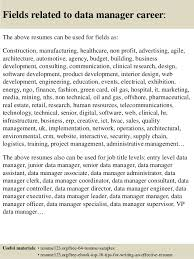 Top 8 Data Manager Resume Samples