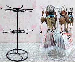 free double layers metal necklace chain bracelet rotation display holder jewelry display stand rack wig