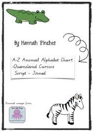 Animal Alphabet Chart Handwriting A Z Qcursive Script Joined Letters