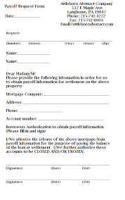 Payoff Request Form