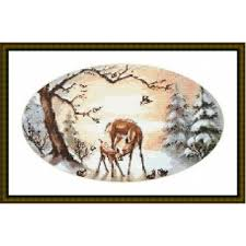 Deer In A Snowy Forest Chart Or Kit
