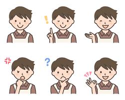 イケメン風エプロン姿の男性のフリーイラスト素材6点セット