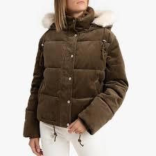<b>Куртка стеганая</b> короткая с капюшоном из вельвета хаки <b>La</b> ...