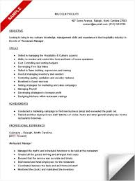 Free Resume Template Restaurant