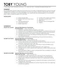 General Maintenance Resume Custom Quality Assurance Technician Job Description Control Resume Perfect