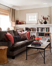 Jennifer Worts Design: Transitional living room design with chocolate brown  velvet sofa, bamboo roman