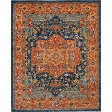 evoke blue orange 8 ft x 10 ft area rug