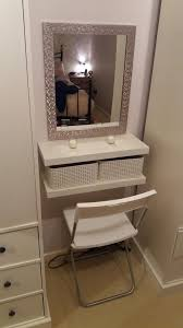 DIY dressing table. 2 floating shelves, crates, seat and mirror.