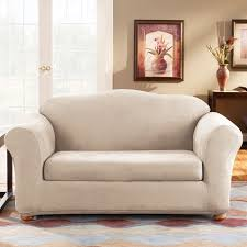 amazing sure fit slipcovers form fit stretch suede 2 piece sofa slipcover surefit slipcovers images