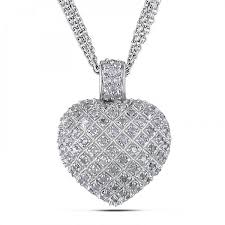 diamond accented puffed heart pendant necklace sterling silver 1ct de98