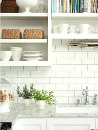 kitchen close up white subway tiles dark grey grout open tile with bathroom gre