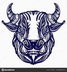 Býčí Hlava Tetování A Tričko Design Velké Rozzuřený Býk Symbol