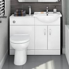 1048mm Quartz Gloss White Combined Suite With Toilet Basin ...