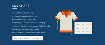 Custom Size Chart Magento Size Chart Extension Size Guide Magento Extension