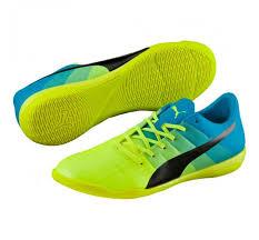 puma indoor soccer shoes for men. puma evopower 3.3 it - safety yellow/black/atomic blue indoor soccer shoes for men r